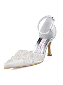 Elegantpark Satin Upper Pointy Toes Stiletto Heel Applique Pearl Buckle Stylish Wedding Bridal Shoes
