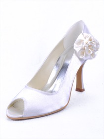 Elegantpark Pretty Satin Peep Toe Stiletto Heel Bridal Shoes