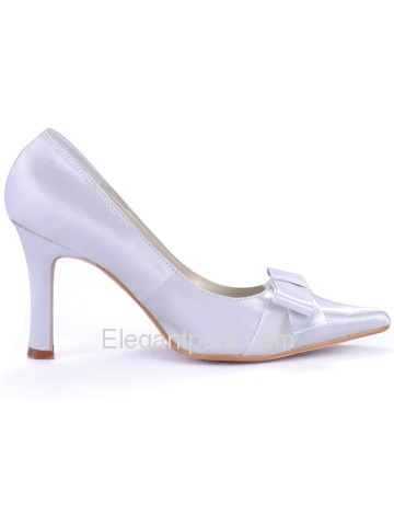 Elegantpark White Pointy Toe Stiletto Heel Satin Shoes With Bowknot (EL-043)