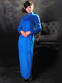 Blue Woolen Long Sleeves Front Right Side Opening Ankle Length Cheongsam