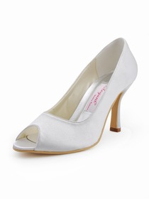 Elegantpark White Peep Toe Stiletto Heel Satin Wedding Pumps Shoes