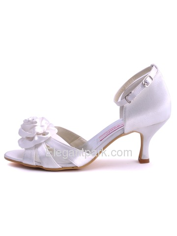 Elegantpark Sandals Spool Heel Satin Bridal Pumps Shoes With Bowknot (EP11026)