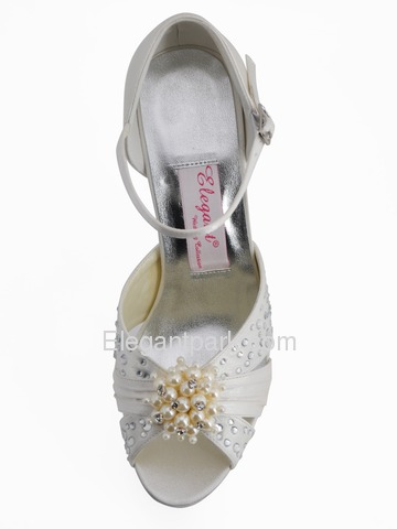 Elegantpark Satin Stiletto Heel Platform Pumps Pearls and Rhinestone Wedding Shoes (EP11057-PF)