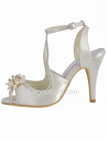 Elegantpark Satin Stiletto Heel With Pearls Wedding Shoes (EP11058)