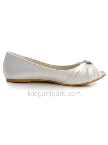 Elegantpark Peep Toe Satin Rhinestones Flat Heel Bridal Wedding Party Shoes (EP2053)