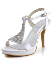 Elegantpark Open Toe Stiletto Heel Platform Satin Rhinestones Slingback Bridal Party Shoes