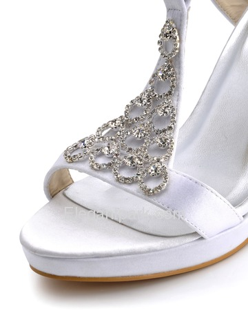 Elegantpark Open Toe Stiletto Heel Platform Satin Rhinestones Slingback Bridal Party Shoes (EP2054-PF)