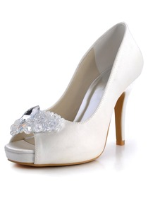 Elegantpark Peep Toe Stiletto Heel Platform Satin Rhinestones Bridal Wedding Party Shoes