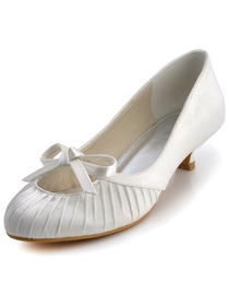 Elegantpark Almond Toe Satin Bowknot Low Heel Bridal Evening Party Shoes