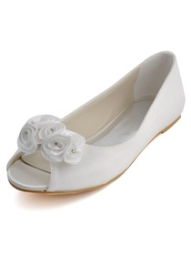 Elegantpark Classic Ivory Peep Toe Flower Satin Wedding Bridal Flats