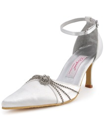 Elegantpark Silver Pointy Toes Rhinestone Kitten Heel Satin Wedding Bridal Shoes