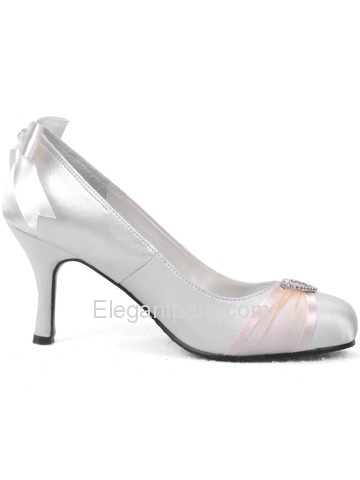 Elegantpark Closed Toe Stiletto Heel Satin Rhinestone Party/Wedding Shoes (A0617)