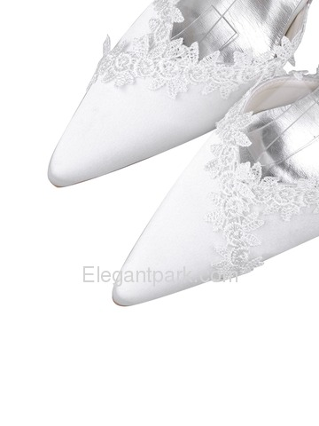 Elegantpark White Pointy Toe Stiletto Heel Satin Appliques Wedding Evening Party Shoes (A1049)