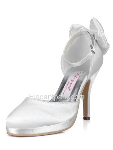 Elegantpark Gold Almond Toe Bow Stiletto Heel Satin Wedding Evening Party Shoes (AJ091-PF)
