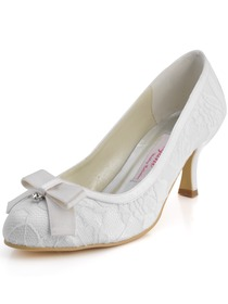 Elegantpark White Closed Toe Spool Heel Satin and Lace Wedding Shoes
