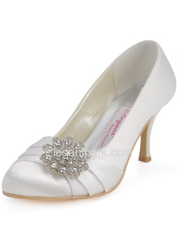 Elegantpark White Almond Toe Chunky Heel Satin Rhinestones Wedding Party Shoes (EP2015)