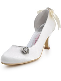 Elegantpark Pumps Rhinestone Spool Heel Satin Wedding Bridal Shoes