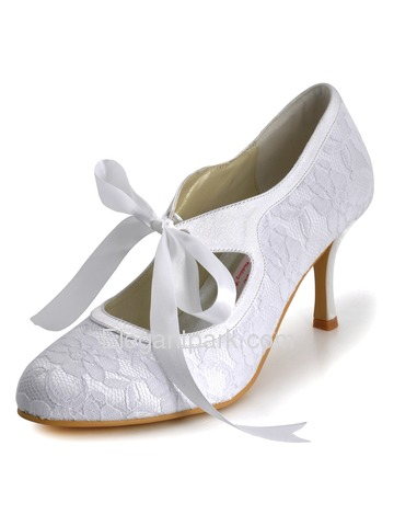 Elegantpark White Almond Toe Stiletto Heel Lace Bridal Wedding Party Shoes (A3039)