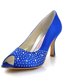 Elegantpark Peep Toe Satin Pumps Shoes With Beading