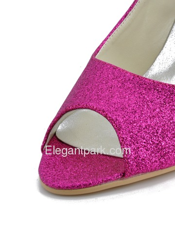 Elegantpark Purple Peep Toe Pumps Spool Heel Glitter Wedding Bridal Shoes (EP11072)