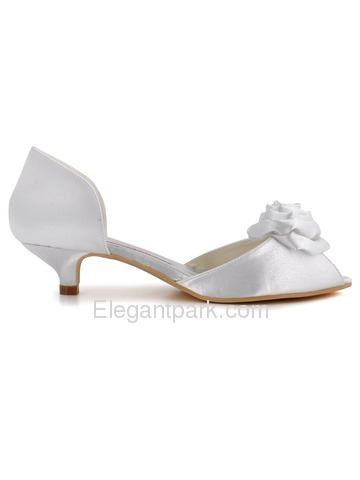 Elegantpark White Peep Toe Flower Low Heel Satin Wedding Evening Party Shoes (EL-R-58)