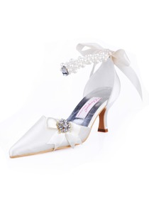 Elegantpark Satin Pointy Toe Spool Heel Wedding Bridal & Evening Shoe