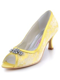 Elegantpark Yellow Peep Toe Stiletto Heel Satin Lace Rhinestones Shoes