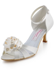 Elegantpark Sandals Spool Heel Satin Bridal Pumps Shoes With Bowknot