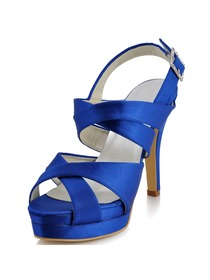 Elegantpark Blue Peep Toe Stiletto Heel Satin Sandals With Platform