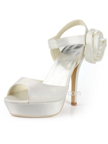 Elegant Satin Stiletto Heel Peep Toe Platform Flower Evening Wedding Party Shoes (EP2063-PF)