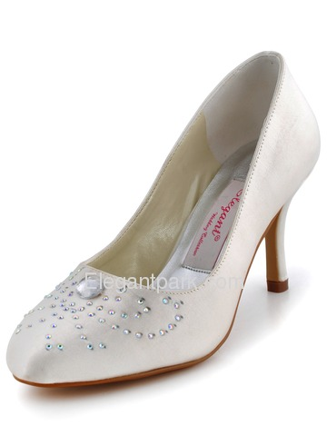 Elegantpark Almond Toe Stiletto Heel Rhinestones Satin Bridal Evening Wedding Party Shoes (EP11038)