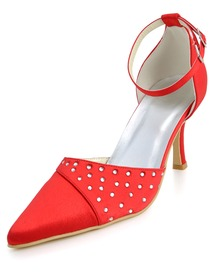 Elegantpark Red Pointy Toe Stiletto Heel Rhinestones Satin Wedding Party Shoes with Buckle
