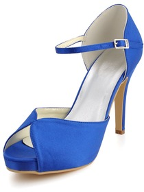 Elegantpark Beautiful Blue Peep Toe Platform Stiletto Heel Satin Evening & Party Shoes