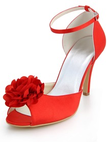 Elegant Red Peep Toes Stiletto Heel Flower Satin Wedding Party Buckle Shoes