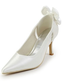 Elegantpark Pointy Toe Spool Heel Bowknot Satin Wedding Bridal Prom Shoes