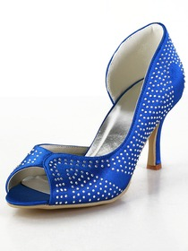 Elegantpark Blue Peep Toe Rhinestones Stiletto Heel Satin Wedding Party Shoes