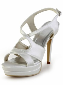 Elegantpark Ivory Open Toe Cross Straps Stiletto Heel Platform Evening Wedding Party Sandals