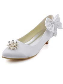 Elegantpark Beautiful White Almond Toe Low Heel Rhinestones Bow Satin Wedding Evening Pumps