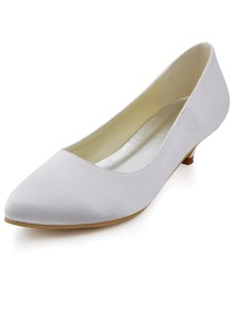 Elegantpark Comfortable Plain White Almond Toe Low Heel Satin Wedding Evening Party Shoes