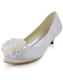 Elegantpark Almond Toe Flowers Low Heel Satin Wedding Evening Prom Shoes