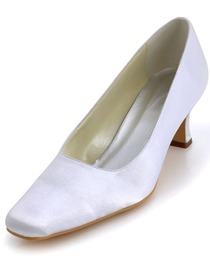 Elegantpark White Classic Square Toe Low Heel Satin Evening Wedding Party Shoes