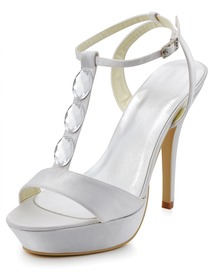 Elegantpark Ivory Open Toe T-Strap Stiletto Heel Platform Crystals Satin Evening Wedding Party Sandals