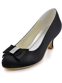 Elegantpark Black Almond Toe Bow Rhinestone Spool Heel Satin Evening Party Pumps