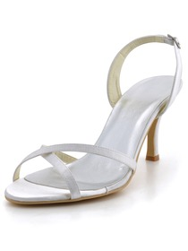 Elegantpark White Open Toe Cross Straps Spool Heel Satin Wedding Bridal Sandals