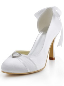 Elegantpark White Round Toes Stiletto Heel Satin Buckle Bridal Prom Shoes