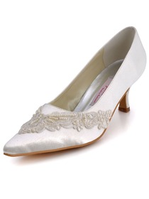 Elegantpark Satin Upper Spool Heel Appliques Wedding/Evening Shoes