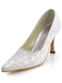 Elegantpark Ivory Pointy Toe Stiletto Heel Lace Wedding Bridal Pumps