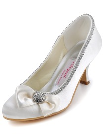 Elegantpark Gorgeous Ivory Satin Pointy Toes Spool Heel Evening Shoe