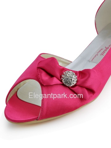 Elegantpark Peep Toe Bowknot Stiletto Heel Satin Shoes (CC60)
