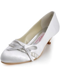 Elegantpark White Closed Toe Chunky Heel Satin Shoes